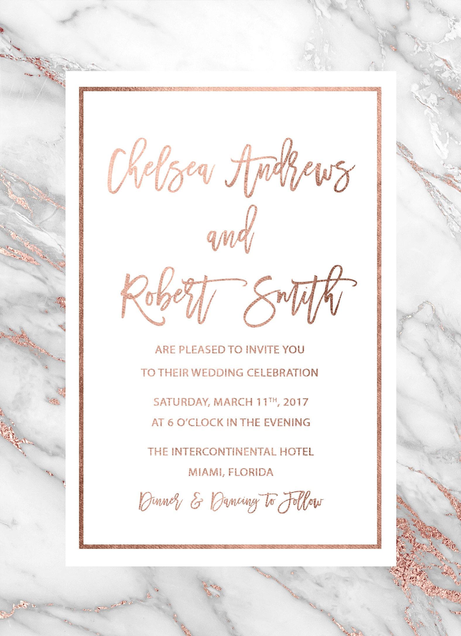 Geode Wedding Invitation, Rose Gold Marble Wedding Invitation, Rose ...