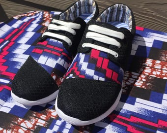 African Sneakers Ankara wax print breathable Fashion Shoes