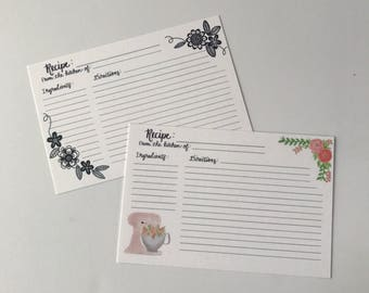 Hand lettered Recipe Cards