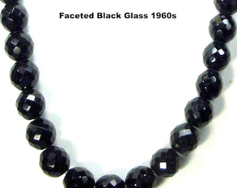 Faceted Black Glass Necklace,  Large Round Beads of Timeless Vintage Drama