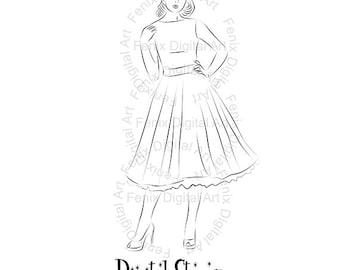 Digital Stamp,Clipart,Line art,Pin up Lady,Pin up girl,Fashion Girl graphics,Digi stamp,digistamp,Art Illustration INSTANT DOWNLOAD