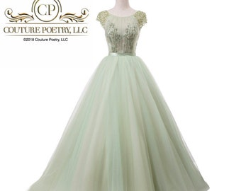 Green Beaded Silk Tulle Gown with Cap Beaded Sleeves