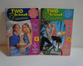 Mary Kate & Ashley Two of a Kind Diaries Books Lot of 2 90s Y2k Olsen Twins Books Collectibles