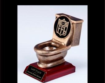 Fantasy Football TOILET BOWL Trophy award Last Place- Worst Record