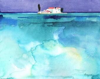 Print of WATERCOLOR LANDSCAPE, sea watercolor print, greek island print, greece print, island landscape, watercolor ocean print, blue art