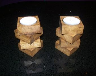 Oak tea light holders x2