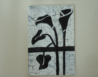 Art Deco Silhouette Flower Bas Relief Wall Art