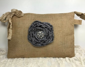 Set of 6 Bridesmaid Clutches, Bridesmaid Gifts, Wedding Clutches, Wedding Bags and Purses, Wedding Party Gifts, Rustic Wedding, Burlap Bags
