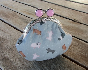 Pig coin purse, kiss lock pouch, cute little pig clasp purse,  frame coin pouch,  gift for her, change purse, animal cotton coin purse,