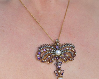 Amazing Victorian 19K Pendant Pin with Pearls Amethysts Diamonds