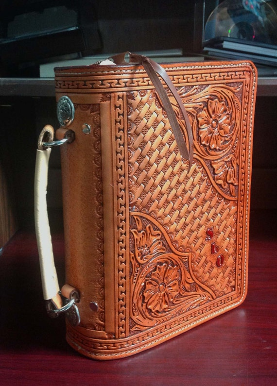 Leather Craft Book Cover : Custom hand tooled leather bible cover with zipper