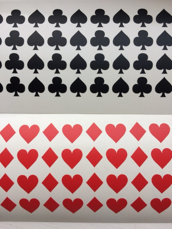 32 Playing Cards SYMBOLS Vinyl Stickers Vinyl Card Symbol