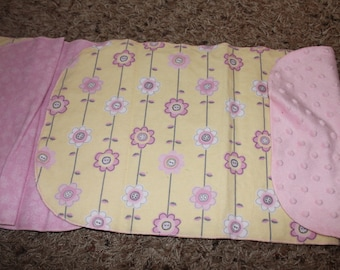 Pink and Yellow Flower Burp Cloth with Flannel or Minky