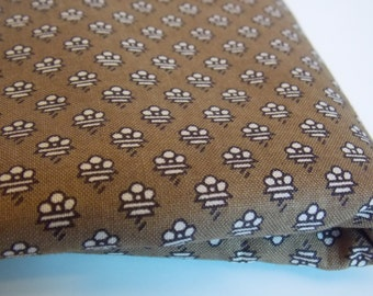 Brown Cotton  Print Vintage Fabric - (2 1/2 Yards)