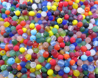 4mm Matte Rainbow Mix Handmade Lampwork Round Glass Beads - 40 Grams (AS9)