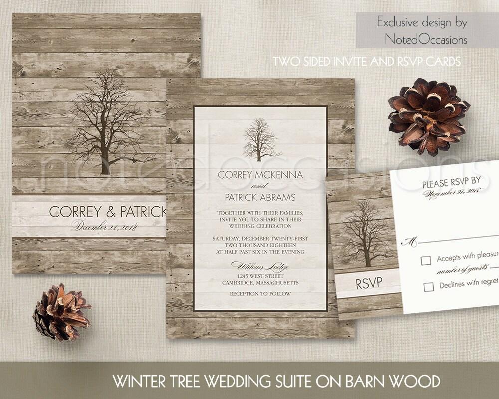 Rustic Winter Wedding Invitation Oak Tree Wedding Suite Fall