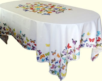 Gorgeous Butterflies Tablecloth Rectangle Cotton Table cloth Made in Europe Cottage Decor Garden Party Table Linen Decor Gift Idea