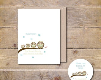 Christmas Cards . Holiday Cards . Personalized Christmas Cards - Owl Family