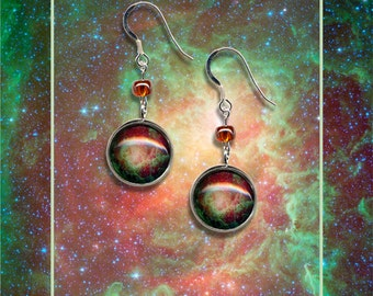 Sterling Silver Lagoon Nebula Earrings displayed on a greetings card with envelope
