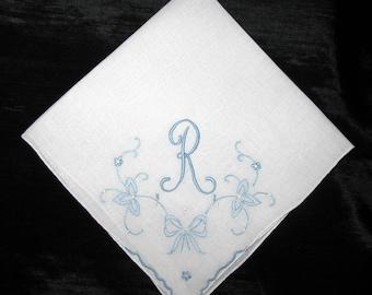 Hankies for Wedding Something Blue Old Handkerchief, Initial Letter Bridal Shower Gift Hanky