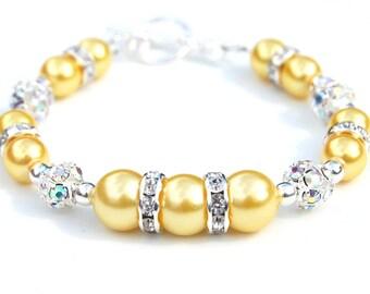Yellow Pearl Bracelet, Summer Wedding Jewelry, Bridesmaid Bracelet, Bridesmaid Presents,  Pastel Wedding Jewellery, Yellow Wedding
