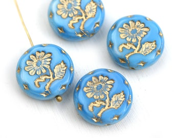 18mm Blue Flower beads, Golden Wash, Czech glass Round tablet floral ornament beads - 2pc - 2739