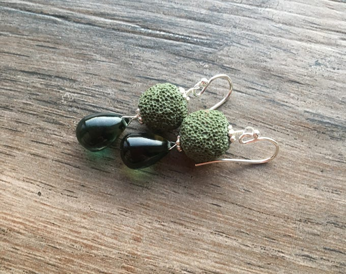 Green Quartz and Green Lava Bead Earrings with Bali Silver Accents