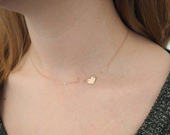 Rose Gold Heart Necklace, Sideways Heart Necklace, Valentines Day Gift