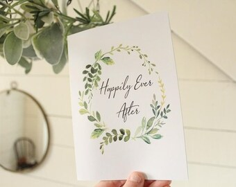 Happily Ever After Card   Watercolor Greenery Wedding Card   Congratulations Wedding Card   Greeting Card