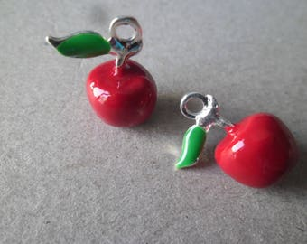 x 1 pendant/charm 3D red enamel Apple shaped silver 19 x 15 mm