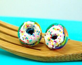 Rainbow Bagel Earrings with Rainbow Sprinkles // MADE TO ORDER // Post Earrings // Miniature Food Earrings