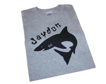 Iron On Black Shark Applique, Personalized Iron on Name, DIY Boys Shark T Shirt or Beach Bag, DIY Gift For Boys, Shark Birthday Gift