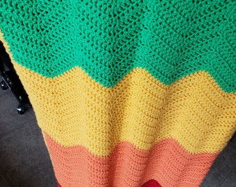 Baby Crochet Afghan Blanket - Ripple Rainbow