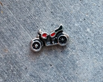 Floating Charm For Glass Memory Lockets- Motorcycle