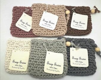 Soap saver,  cotton soap holder,  soap saver bag,  cotton soap sack, soap bag with drawstring