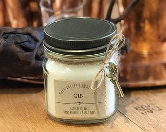 Gin - Handmade Natural Soy Wax Mason Jar Candle