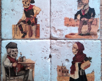 Skeleton Characters One Marble Tile Coasters - Set of 4