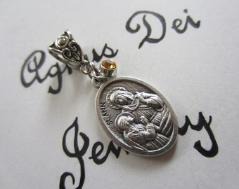 St Ann Medal & Dk Yellow Glass Charm Pendant, Patron Saint for Mothers - Grandmothers - Women in Labor, Catholic Religious Gift
