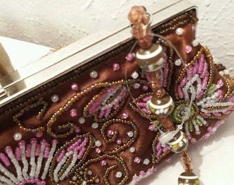 Lovely Vintage Small Beaded Handbag Brown 033