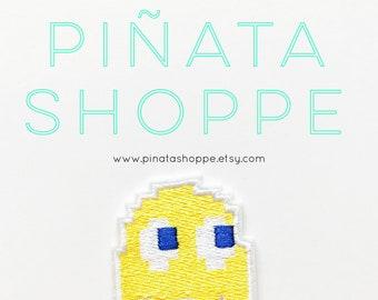 Yellow Pac-Man Ghost Iron-On Patch | Piñata Shoppe