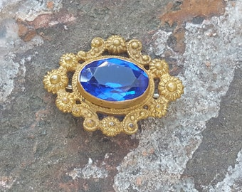 Victorian Brooch~Antique Gilt Brass Brooch~Blue Cut Glass Pressed Brass Pin~Old C-Clasp~Antique jewelry~Vintage Jewelry~JewelsandMetals.
