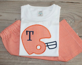 Football Helmet Shirt & Bottoms, Personalized Football Helmet Shirt and Coordinating Bottoms, Monogram Football Shirt, Applique Football
