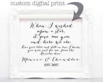 traditional 1st year paper anniversary gift, personalized digital print, instant paper anniversary gift, instant download, paper download