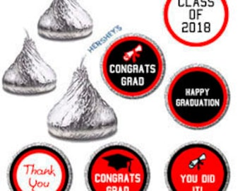 Printable Hershey Kiss Graduation Stickers - DIY Graduation Parties Candy Favors, Class of 2018 Red and Black Party Favor Labels, 9932