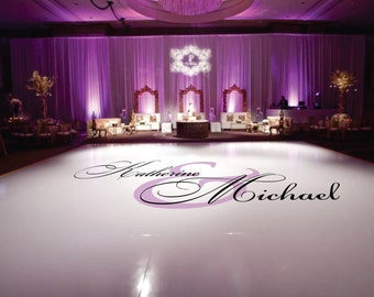 Dance Floor Decal Wedding, Wedding Floor Monogram, Vinyl Floor Decals, Wedding Decor -  DFD0004