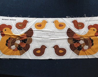 Henny Penny with Chicks - Sewing Fabric Panel