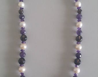 Smoky Quartz + Amethyst + Freshwater Pearl Necklace
