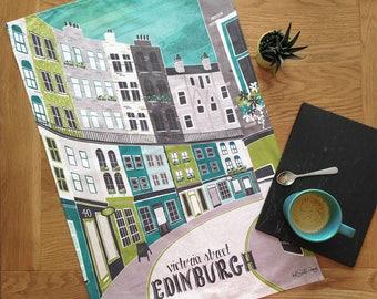 Edinburgh Tea Towel / Victoria Street Tea Towel / Large Dish Cloth / Scotland Tea Towel / Edinburgh Architecture Tea Towel  Mothers Day Gift