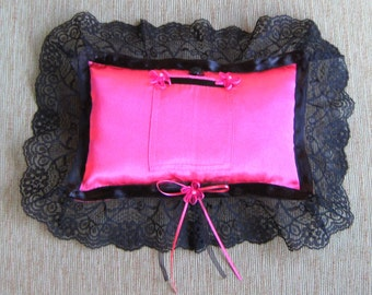 """Hot Pink Tooth Fairy Pillow with Black Accents---""""Lucky Star"""""""