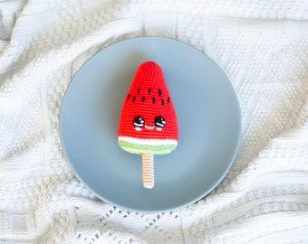 Crochet baby toy Ice cream , watermelon Ice cream Amigirumi Play Food, Plush  sweets, Baby shower gift